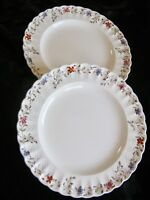 """(2) Copeland Spode Wicker Dale Dinner Plates Floral 10.5"""" England Scalloped Edge"""