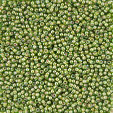 Toho 11 Inside Colour Luster Peridot/Opaque White Lined Seed Beads 8.2g (L26/2)