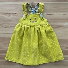 MINI BABY BODEN Yellow Dot Corduroy Bunny Jumper Dress Size 18-24 Months