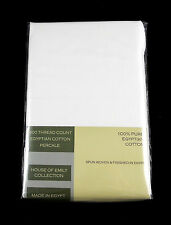 "Egyptian Cotton Percale Fitted Sheet 12"" Deep Fully Elasticated 400Tc White"