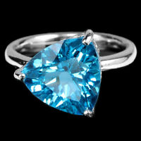 GENUINE 12X12 MM. TRILLION AAA SWISS BLUE TOPAZ STERLING 925 SILVER RING 7.25