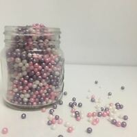 Purple, Pink & White Glimmer Pearls Sugar Sprinkles Cupcake Decorations