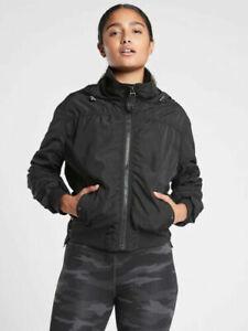 ATHLETA Point Reyes Bomber Jacket M MEDIUM Black Commute Travel #405434