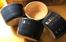 Lot of 4 Le Creuset Navy Blue Ramekins #12-34 Stoneware Earthy Tan Inside Bowls