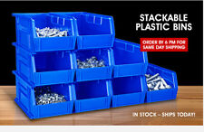 ULINE Stackable Industrial Stack & Hang Plastic Bins Multiple Sizes/Colors 12pcs