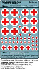 SKYTREX DECALS BRITISH ARMY AMBULANCE MARKINGS 1/76,20mm Scale - AD83