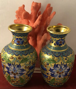 Vintage Chinese export cloisonne enamel lotus flower vase pair JL 072220eEIZI