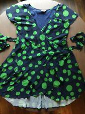 eShakti Wrap Dress Plus Size Navy/Green Circles  Ruffles Lined 3X