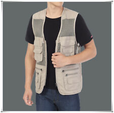 men outdoor fishing Photographing vest breathable mesh Mult-pocket waistcoat 4XL