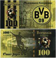 Russia 100 rubles 2020, Borussia Dortmund, Souvenir polymer banknote, UNC