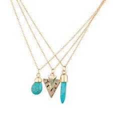 Lux Accessories Turquoise Stone Arrow Head Amulet Multiple Necklace Set