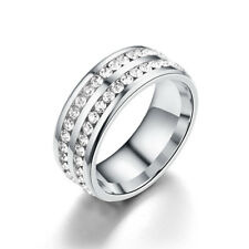 Men Women 8MM Stainless Steel CZ Titanium Ring Band Size 6-12 Engagement Wedding
