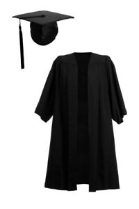 University Graduation Gown And Mortarboard Hat Set Bachelor BA Cap Robe Virtual