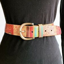 Fossil Genuine Leather Belt Sz S Small Multicolor Pink Patchwork Womens