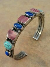 Rare Vintage Harry Morgan Silver Spiny Oyster Lapis & Turquoise Cuff Bracelet
