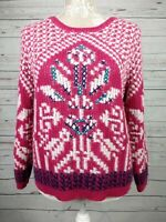 Per Una Nordic Chunky Knit Cropped Jumper Pink Wool Blend Size 16