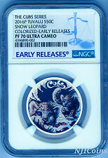 2016 P Tuvalu PROOF Silver The Cubs Snow Leopard NGC PF70 1/2 oz Coin w/ OGP