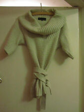 Cream - Beige Cowl Neck Short Sleeve River Island Jumper in Size 8 with Belt