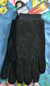 MENS M&S GENUINE SUEDE LEATHER GLOVES WITH THERMOWARMTH LINING SIZE SMALL BLACK