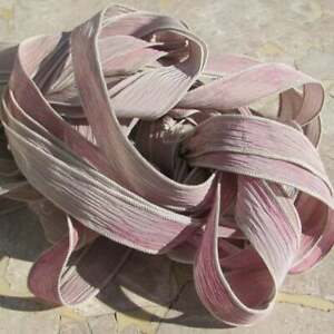 Faded Roses Silk Ribbon Qty 5 Hand Dyed Bridal Bouquet Trim Pink Tan Creme White