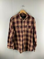 Faded Glory Mens Brown Black Check Vintage Long Sleeve Button Up Shirt Size L