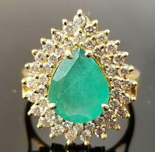 4.5TCW Green Pear Emerald  Double Diamond Halo 14k yellow gold ring/band