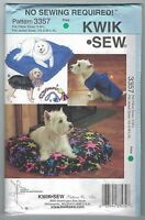 "NEW ""No Sew"" Pattern Pet Pillow Jacket Toy Dog Cat Kwik Sew 3357 FREE AUS POST!"