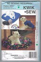 "NEW ""No Sew"" Pattern Pet Pillow Jacket Toy Dog Cat Kwik Sew 3357 FREE AUS POST!"