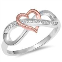 Infinity Pink Heart Shaped Promise Ring 925 Sterling Silver CZ Band Sizes 5-10