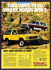"1983 GMC Jimmy & S-15 Jimmy SUV photo ""Go Where Roads Don't"" promo print ad"