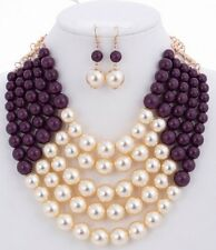 Adjustable 5 Layer Purple and Cream Pearl Necklace with Earrings