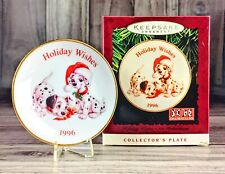 Hallmark Keepsake Ornament Disney 101 Dalmations Holiday Wishes Plate FREE SHIP!