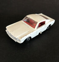 Vintage Lesney Matchbox 8 White Ford Mustang Red Interior Fastback Steering - A