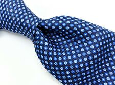 ISAIA Napoli Blue White Neat Floral 7 FOLD Thick Silk Print Recent Tie Italy