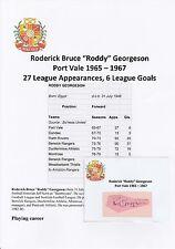 Roddy Georgeson Port Vale 1965-1967 Original Corte/tarjeta firmada a mano