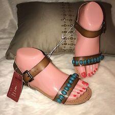 dec10c4e2da960 Mossimo Flat Turquoise Stone Brown Strap Buckle Sandals Size 6M Women NWT