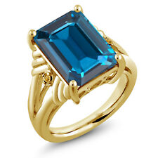 18K Yellow Gold Plated Silver London Blue Topaz Yellow Simulated Citrine Ring