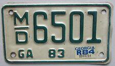 Georgia 1984 MOTORCYCE License Plate # M/D 6501