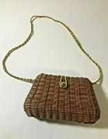 Vintage Tandem Bags Basket Woven Structured Purse Handbag Brown Gold