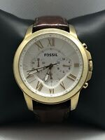 Fossil FS4767 Men's Brown Leather Analog Silver Dial Genuine Wrist Watch BP181