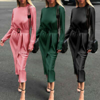 Womens Long Sleeve Silky Satin Bodycon Dress Cocktail Party Gown Maxi Dresses US