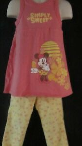Walt Disney Yellow and Coral 2 Piece Outfit with Minnie Mouse Size 4