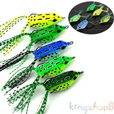 Lot 5 PCS 8g Cute Frog Topwater Fishing Lure Crankbait Hooks Bass Bait Tackle