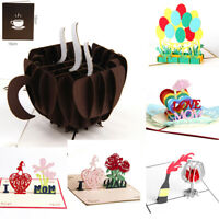 Hot 3D Pop Up Cards Valentine Lover Happy Birthday Anniversary Greeting Cards