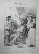 LITHOGRAPHIE DE VERNIER 19ème LES GRISETTES LES CREPES