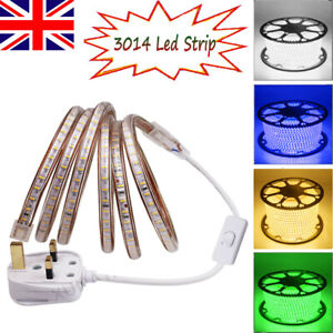 1-100m LED Strip 3014 Main Plug In Tape Rope Lights Waterproof Outdoor 220V 240V