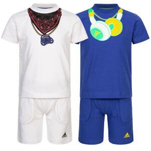 adidas Bandana Headphone Baby Kleinkinder Kurzarm Sommer Set Shirt + Shorts neu