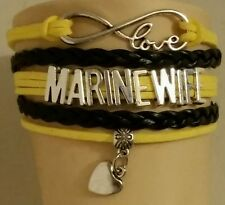 CUSTOM MILITARY LEATHER CHARM BRACELET ADJUSTABLE-MARINE WIFE -BLACK/YELLOW-#246
