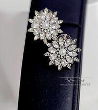 Boucles d`Oreilles Clous Puces Fleur Perle Cristal  Vintage Mariage NN 3
