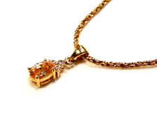 Bijou plaqué or 18 carats superbe collier pendentif cristal morganite et strass
